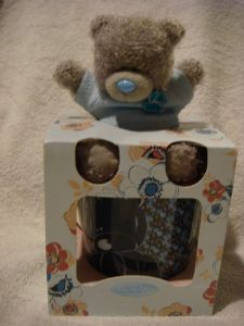 Me To You  Tatty Teddy mug  with 4inch bear in light and dark blue.